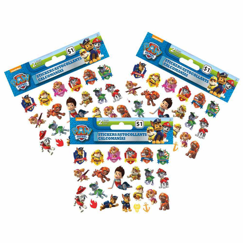 Paw Patrol Mini Stickers [3 Packages of 2 Sheets Each] - Happy-Go-Cart
