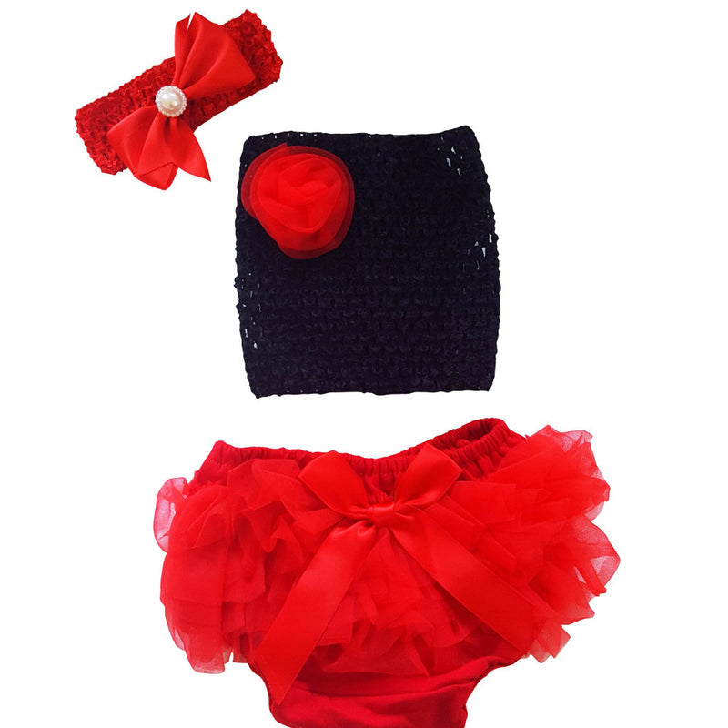 Baby Girl Crochet Mesh Tube Top + Bloomers+Headband 3Pc Outfit Set - Happy-Go-Cart