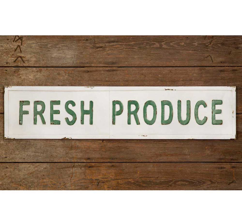 """Fresh Produce"" Metal Wall Sign - Happy-Go-Cart"