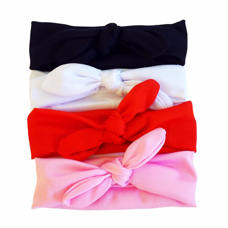 Solid Color Bowknot Headbands 4-pack - Happy-Go-Cart