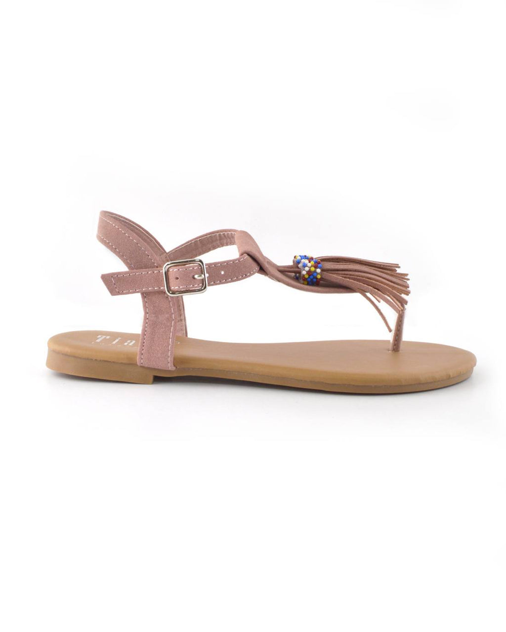 Tassel and Bead Embellished Flat Sandals - Happy-Go-Cart