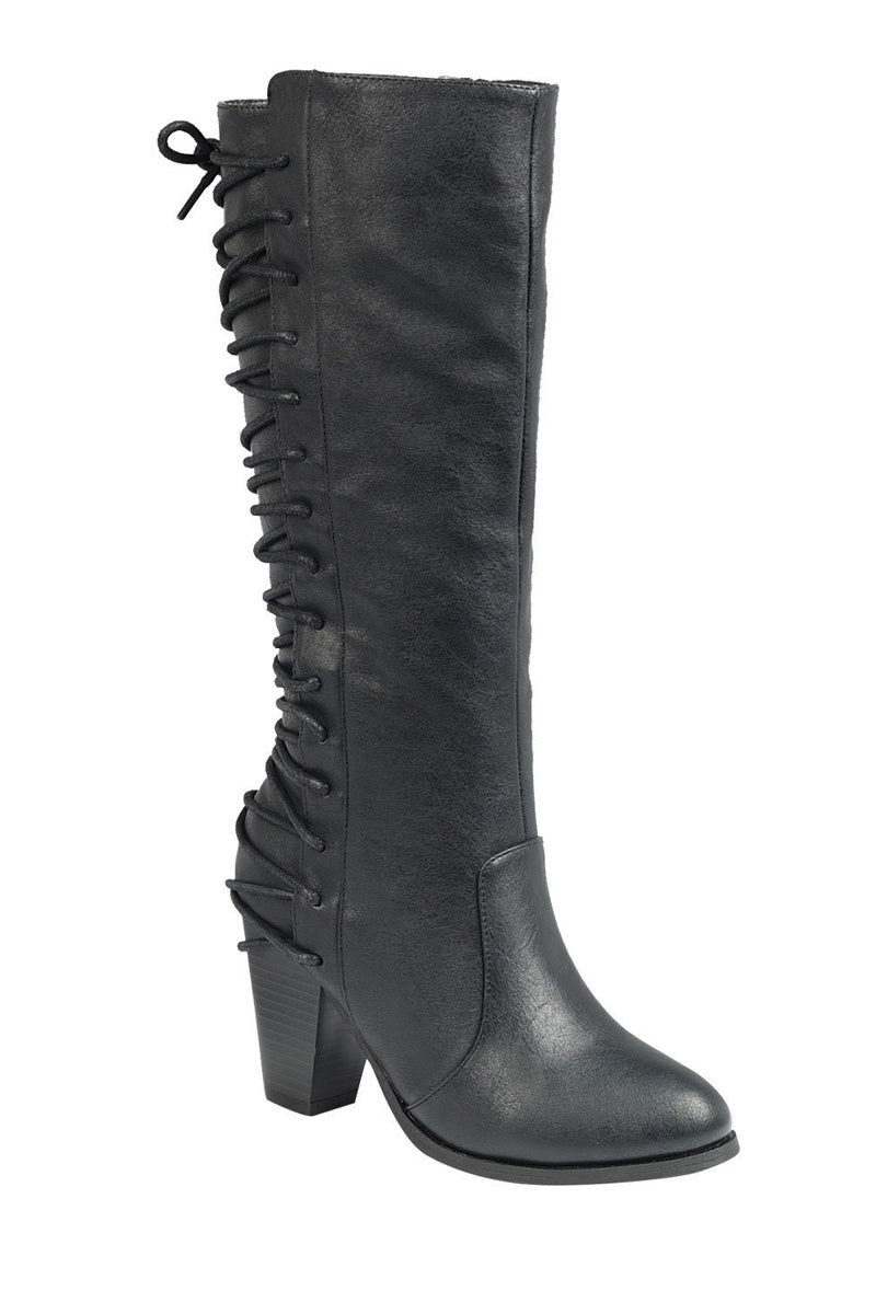 Ladies fashion knee-high boot, closed round toe, block heel, zipper closure, with lace up - Happy-Go-Cart