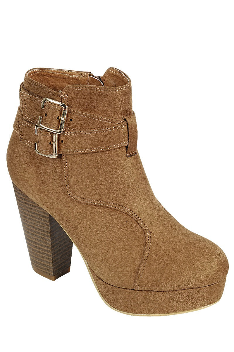 Ladies fashion ankle boot, closed almond toe, block heel, with buckle straps - Happy-Go-Cart