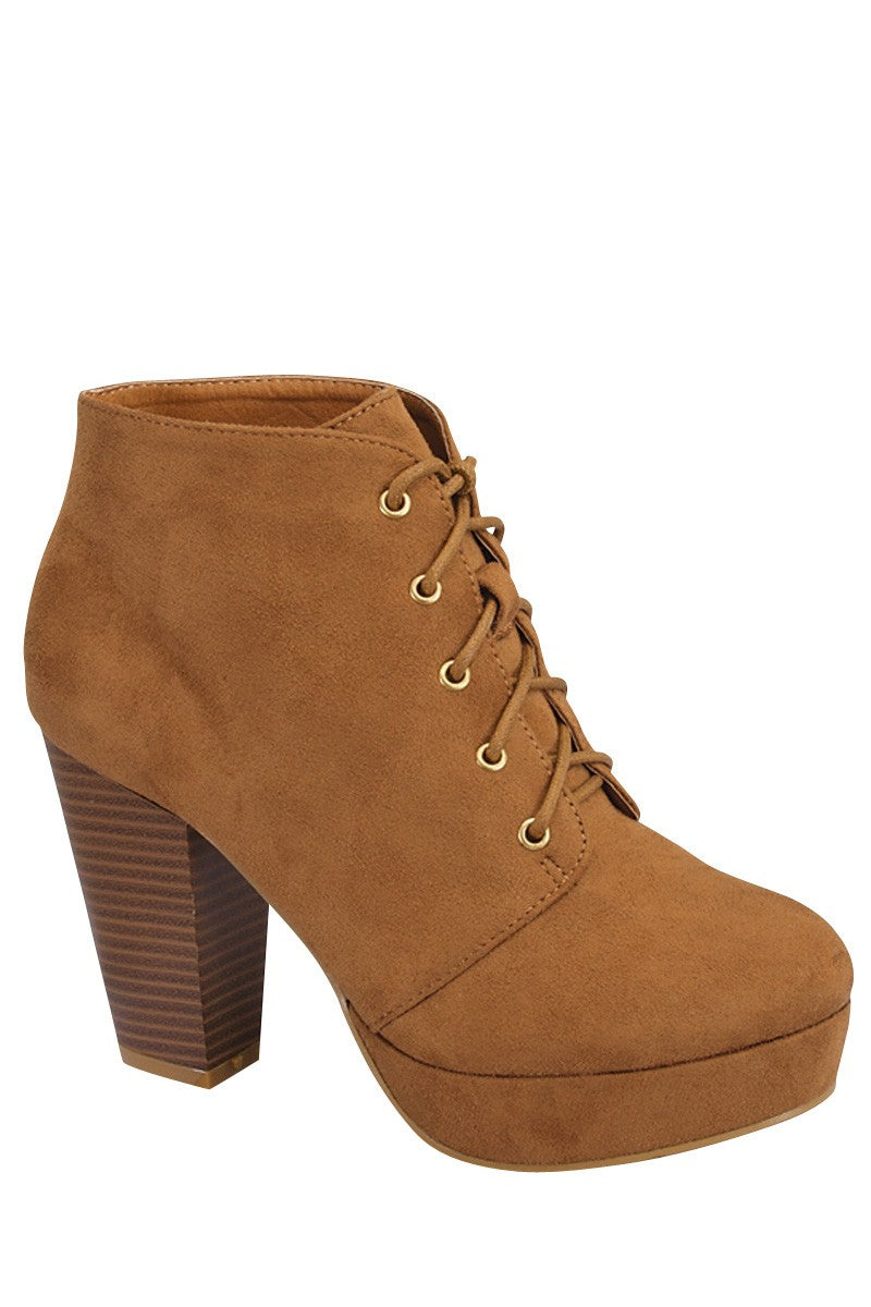 Ladies fashion ankle boot, closed almond toe, block heel, with tie straps - Happy-Go-Cart