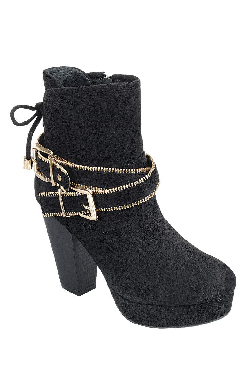 Ladies fashion ankle boot, closed almond toe, block heel, with zipper closure and buckle detail - Happy-Go-Cart