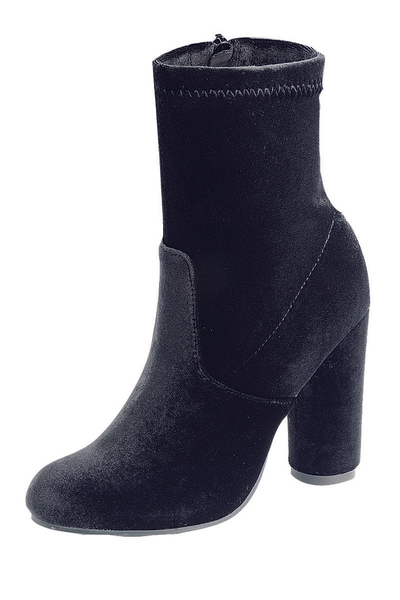 Ladies fashion reflections of sock-like ankle boot, closed almond toe, block heel with zipper closure - Happy-Go-Cart