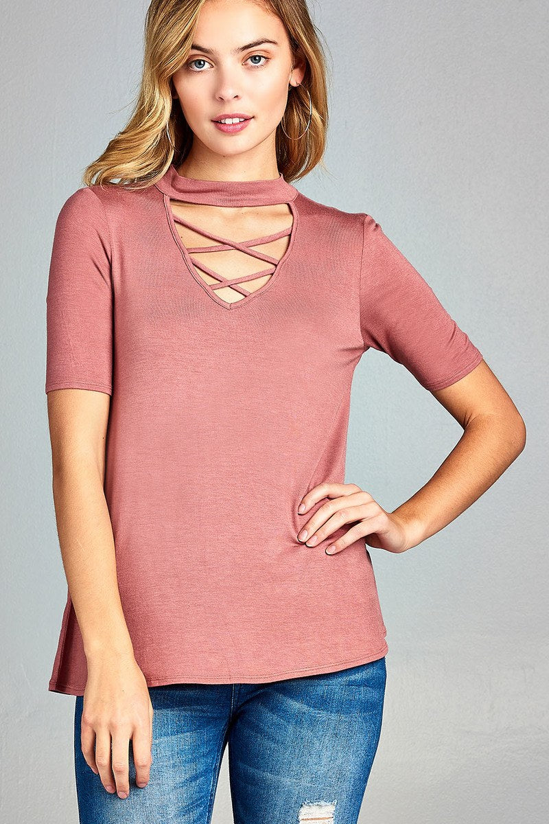 Ladies fashion short sleeve cross strap w/choker neck rayon spandex top - Happy-Go-Cart
