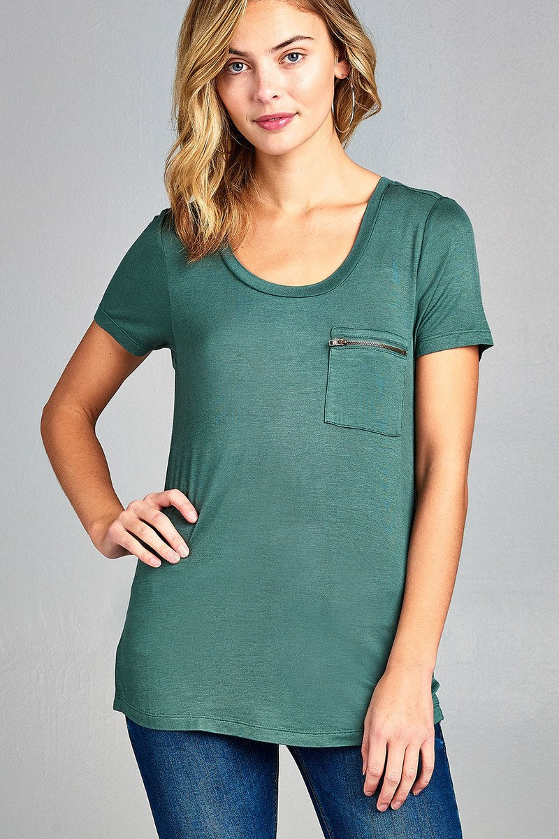 Ladies fashion short sleeve round neck zippered pocket top - Happy-Go-Cart