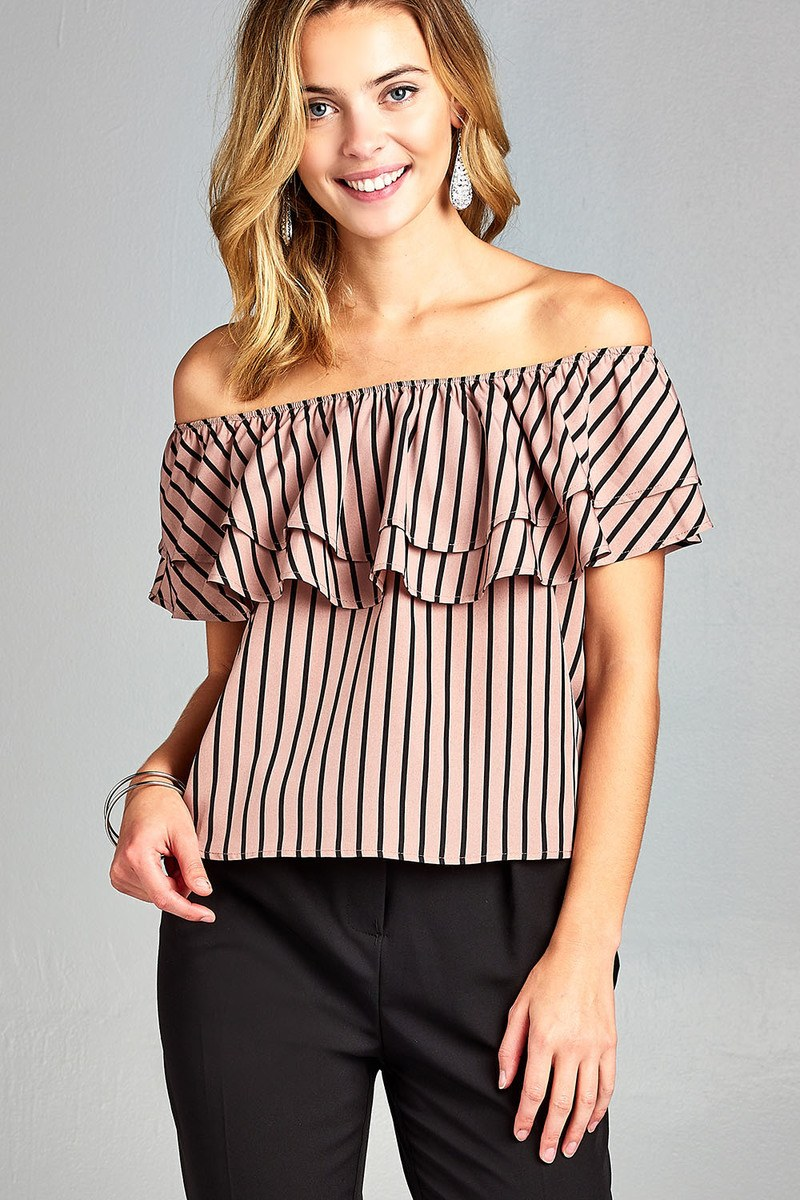 Ladies fashion double ruffled flounce off the shoulder stripe print woven top - Happy-Go-Cart