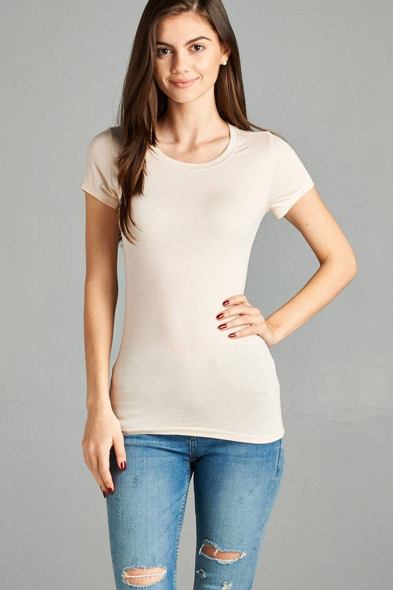 Ladies fashion short sleeve crew neck tee w/ contrast neck inbinding - Happy-Go-Cart
