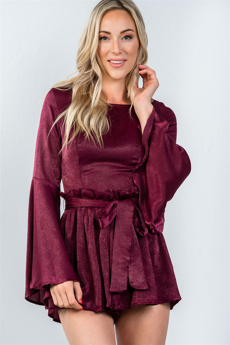 Ladies fashion round neckline gathered long bell sleeves romper