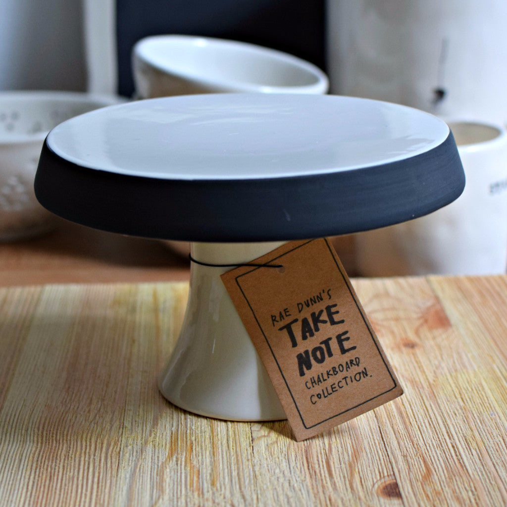 Pedestal Plate with Chalkboard Rim - Happy-Go-Cart