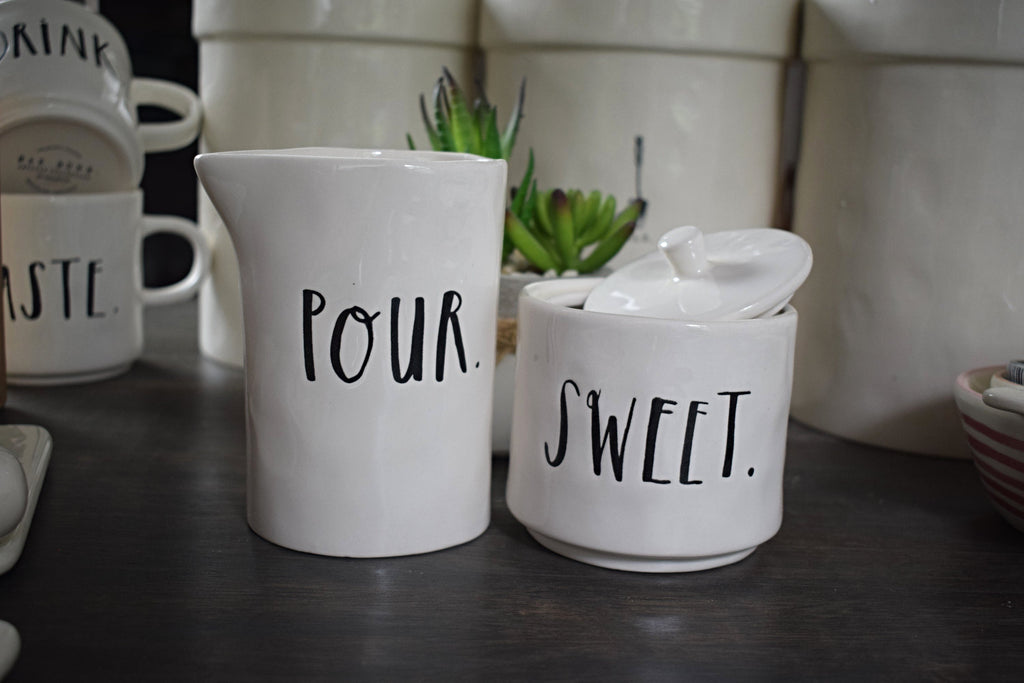 Stem Print Creamer and Sugar
