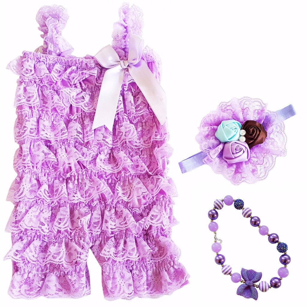 Baby Lace Petti Romper, Bow Headband & Bubblegum Necklace outfit - Happy-Go-Cart