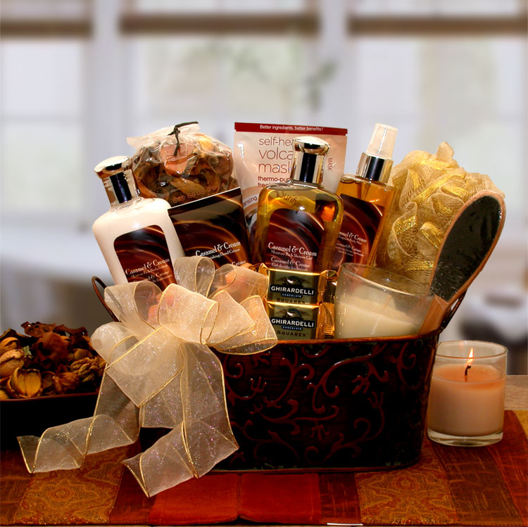 Caramel & Cream Bliss Spa Gift Basket - Happy-Go-Cart