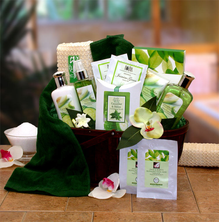 Cucumber & Melon Calming Spa Bath & Body Gift Basket - Happy-Go-Cart