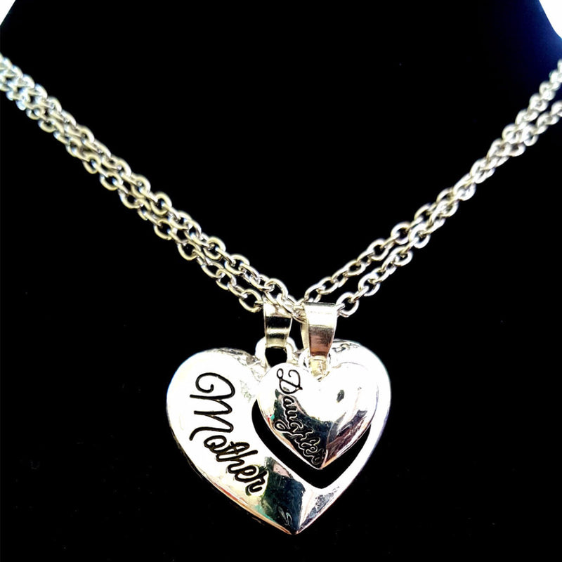 Mother-Daughter Heart Cut Out Necklaces Set - Happy-Go-Cart