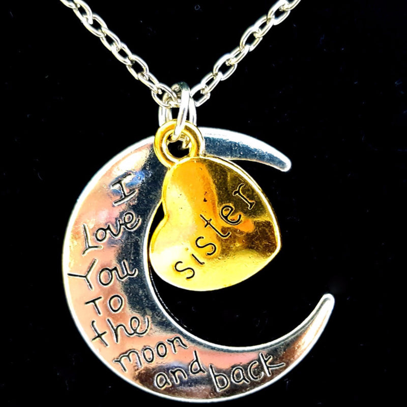 I Love You To The Moon And Back Silver Vintage Family Necklaces - Happy-Go-Cart