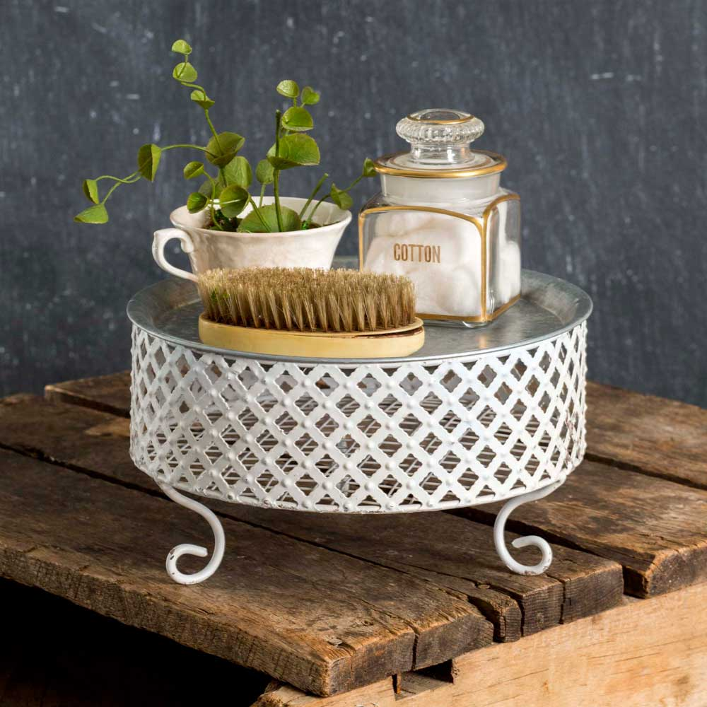 Large Trinket Tray with Lattice Pedestal