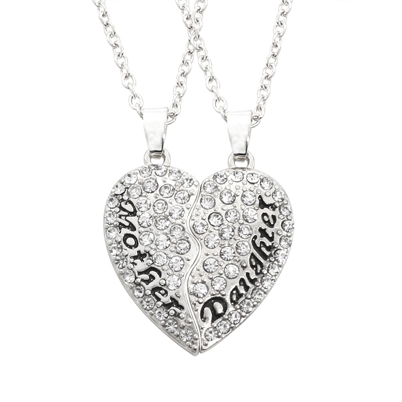 Rhinestone Crystal Heart Cut-out Pendant Mother-Daughter Necklaces Matching Set