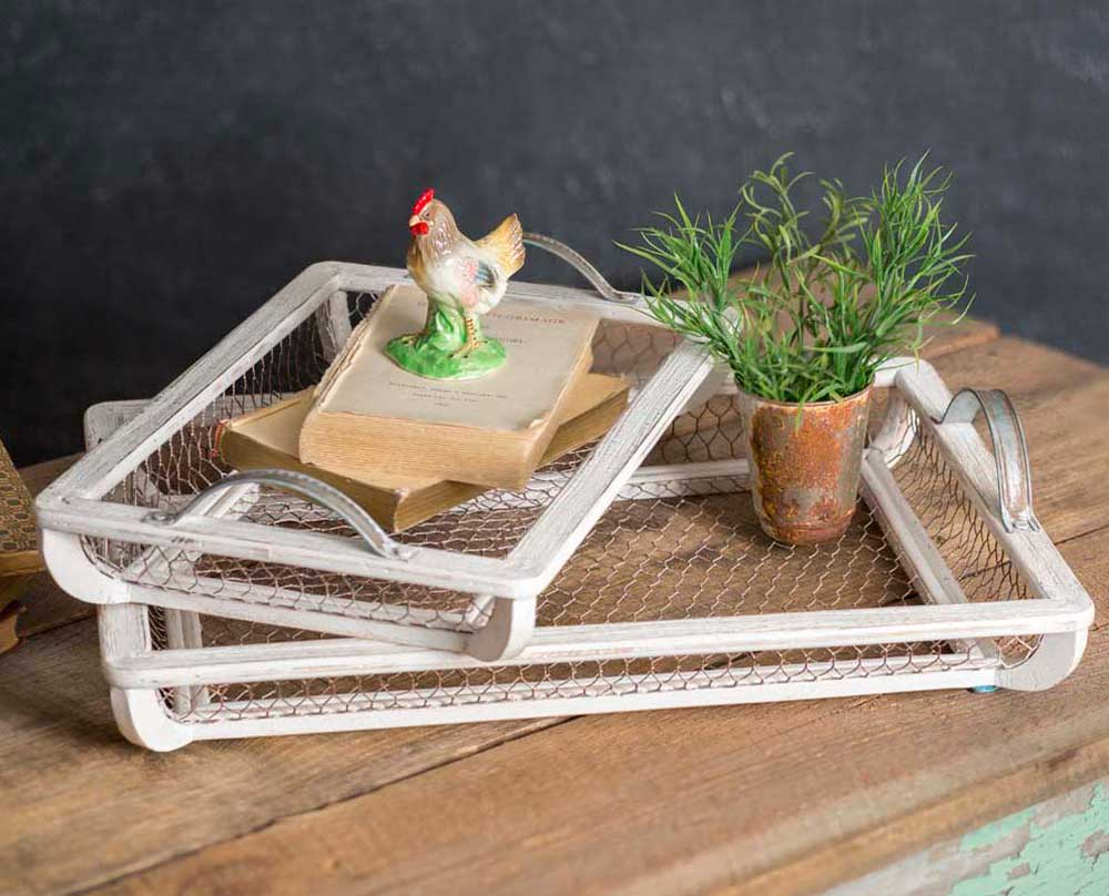 Set of Two White Wood and Chicken Wire Party Trays