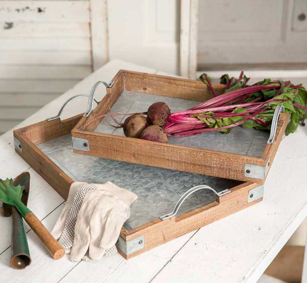 Set of Two Wood and Metal Garden Party Trays