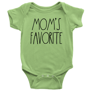 """MOM'S FAVORITE"" Farmhouse Large Letter Baby Bodysuit"