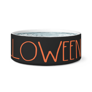 """HAPPY HALLOWEEN"" Farmhouse Large Letter Halloween Dog Bowl (Orange Font)"
