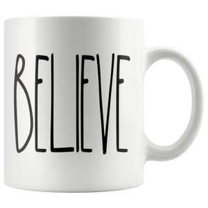 """BELIEVE"" Farmhouse Large Letter Mug"