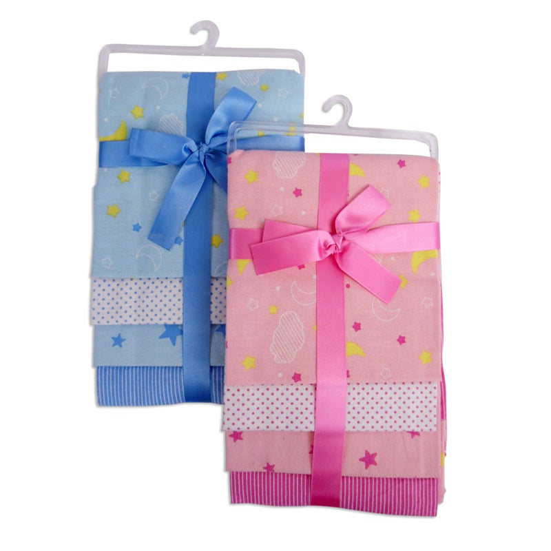 Flannel Print Receiving Blanket 4-Pack - Happy-Go-Cart