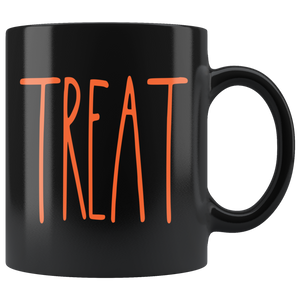 """TREAT"" Farmhouse Large Letter Halloween Mug (Orange Font)"