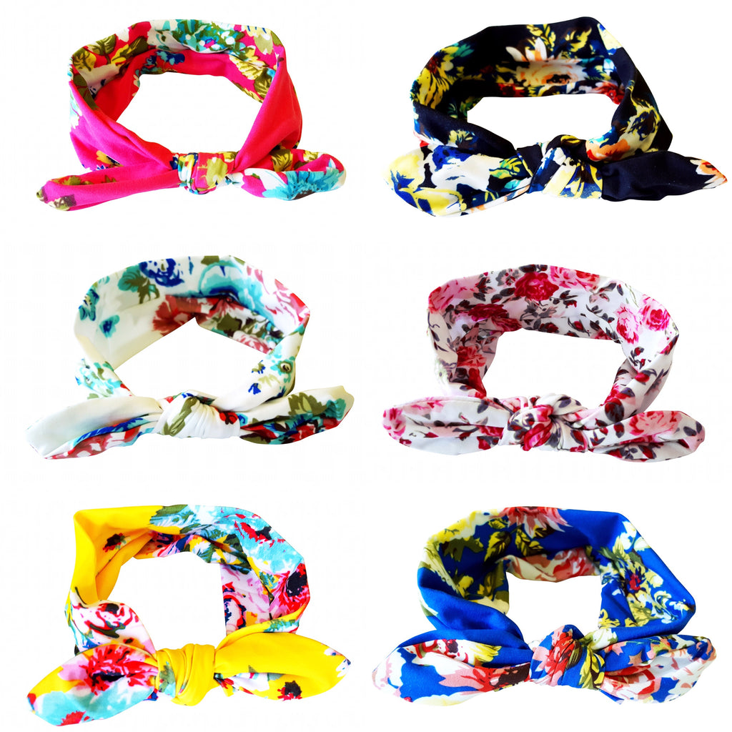 Floral Print Bowknot Headbands 6-Pack - Happy-Go-Cart