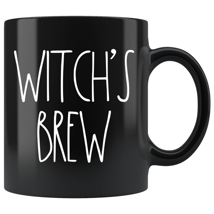 """WITCH'S BREW"" Farmhouse Large Letter Halloween Mug (White Font)"