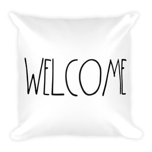 """WELCOME"" Farmhouse Large Letter Square Pillow"
