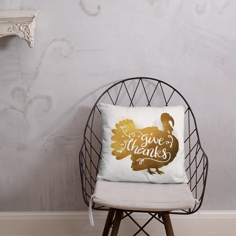 """Give Thanks"" Thanksgiving Throw Pillow"