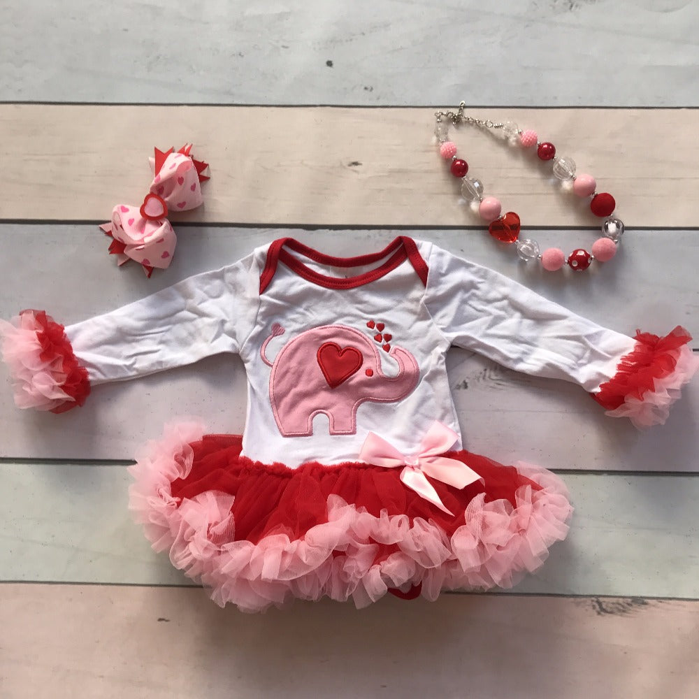 Elephant Heart Valentine's  tutu Romper outfit set - Happy-Go-Cart