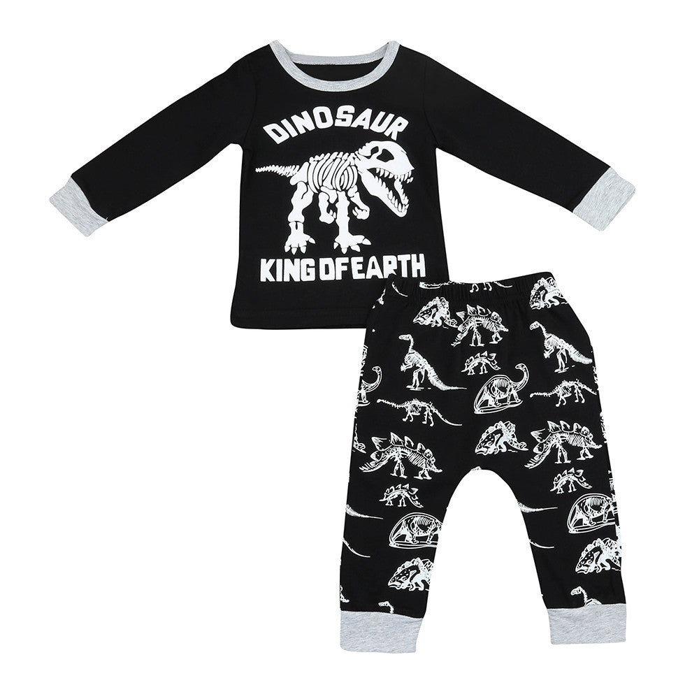 Newborn Baby Boys Dinosaur Print Tops & Pants outfit Set - Happy-Go-Cart