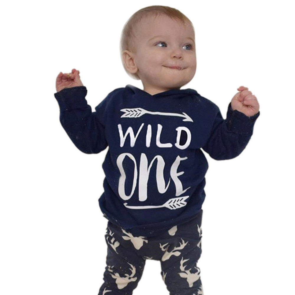 2PC 'Wild One' Baby Boy Toddler Hooded Top +Pants Outfit Set - Happy-Go-Cart