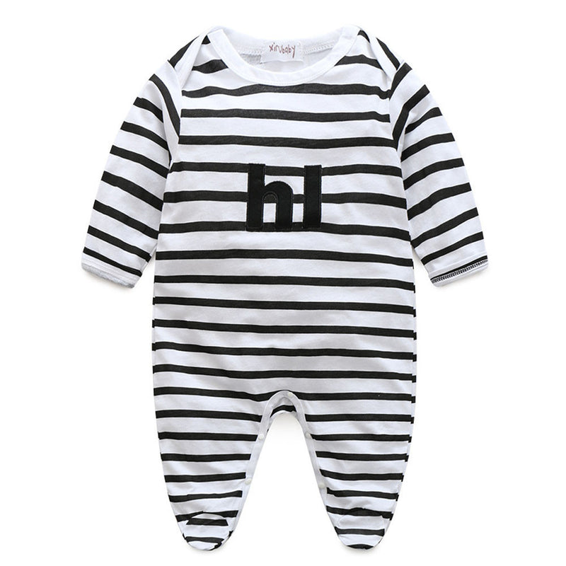 Newborn Baby Boy Toddler Striped  Romper Jumpsuit Outfit - Happy-Go-Cart