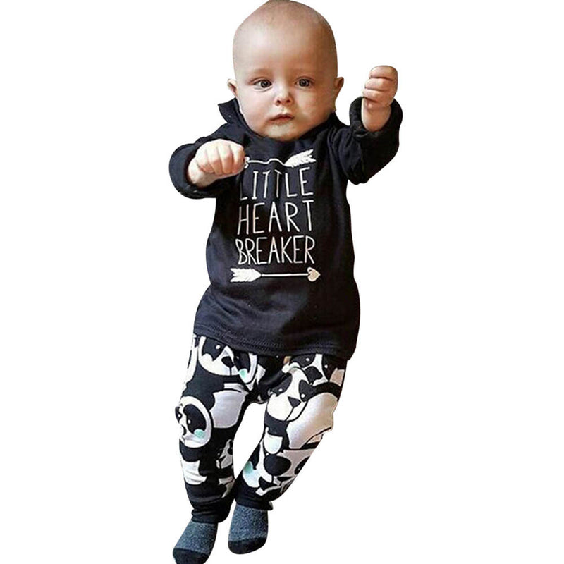 Baby Boy Long Sleeve Little Heart Breaker Loongsleeve Shirts +Pants Outfit Set - Happy-Go-Cart