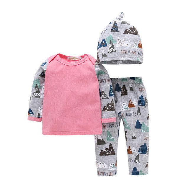 Newborn Baby Girls Pink Patterned Printed Sleeves Long Sleeve Shirts + Pants+ Hat set - Happy-Go-Cart