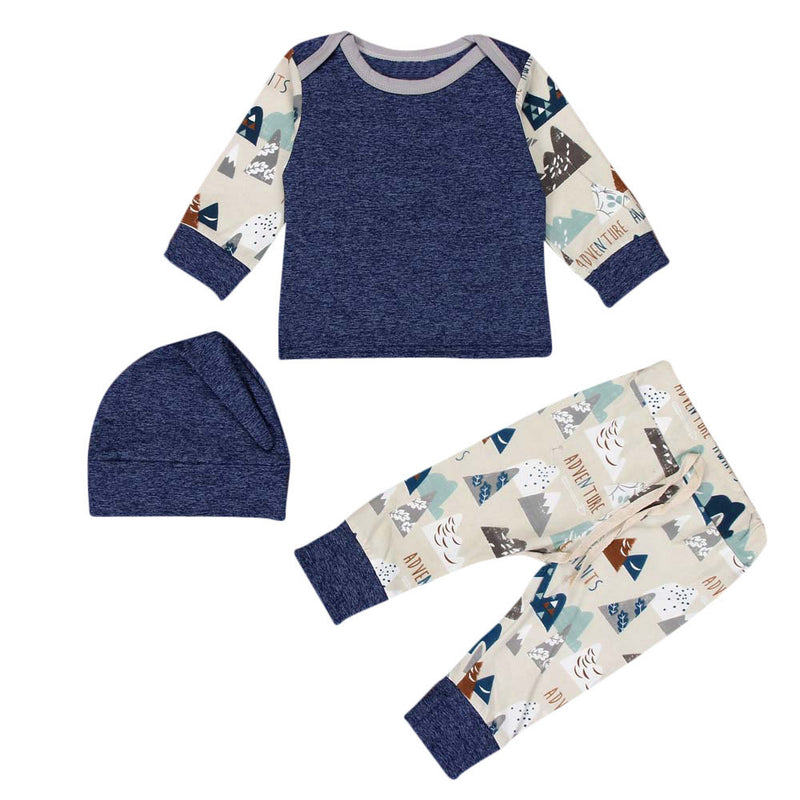 Newborn Baby Boy long sleeve Shirt Printed Sleeves  Pants Hat Toddler  Outfit set - Happy-Go-Cart