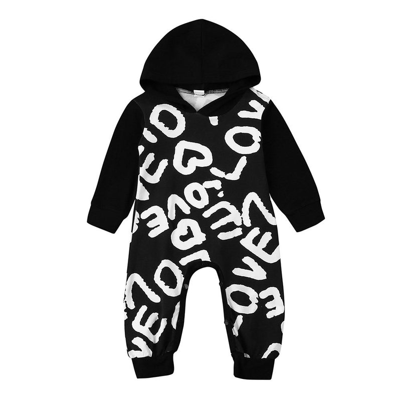 Newborn Baby Boy Hooded Romper Love Heart print design Autumn Winter outfit - Happy-Go-Cart