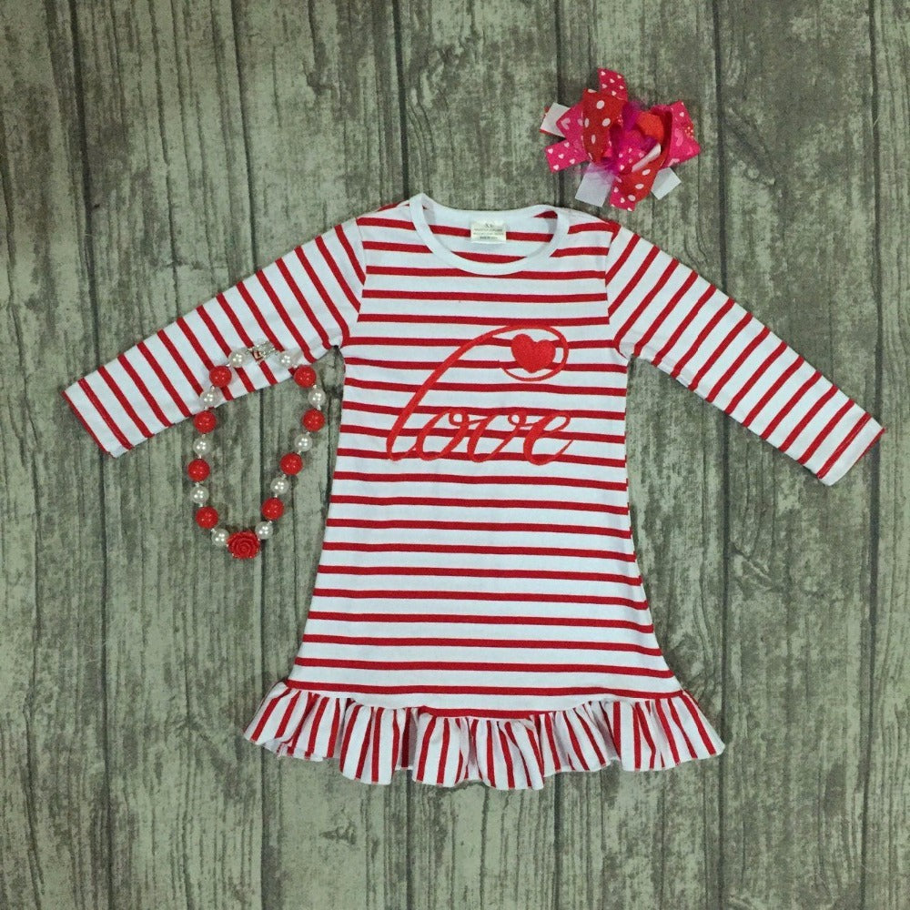 Love Heart in Red Stripes Valentine's Outfit set - Happy-Go-Cart