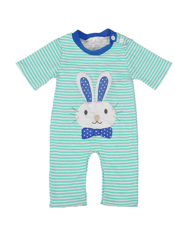 Easter Bunny Baby boy Striped Rompers - Happy-Go-Cart