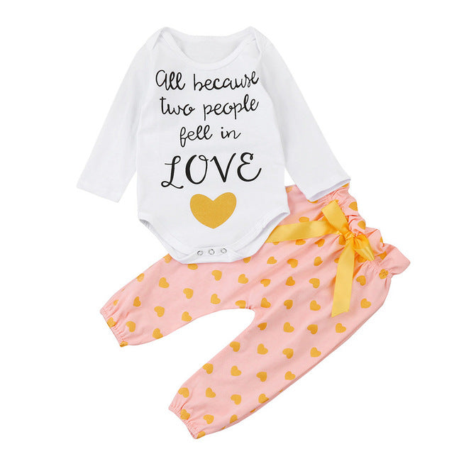 """All Because Two People Fell In Love"" baby girls 3 pc outfit set - Happy-Go-Cart"
