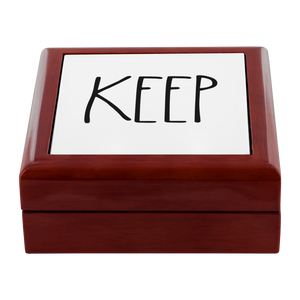 """KEEP"" Farmhouse Large Letter Jewelry Box"