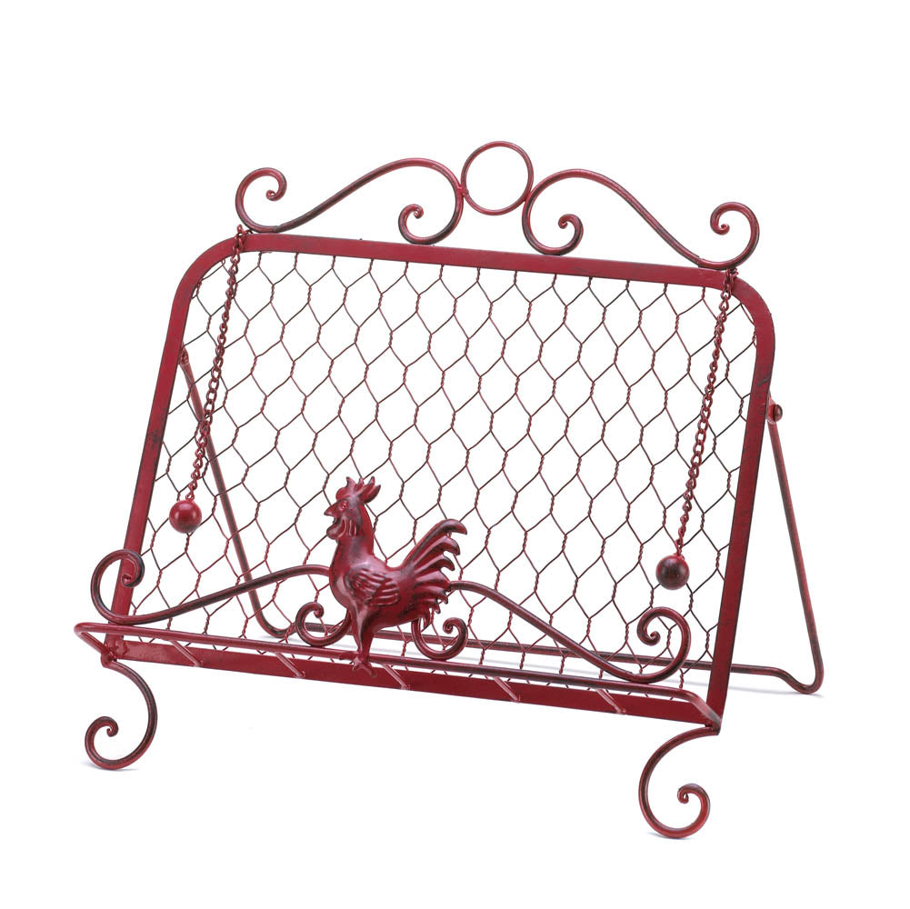 Red Rooster Cookbook Stand - Happy-Go-Cart