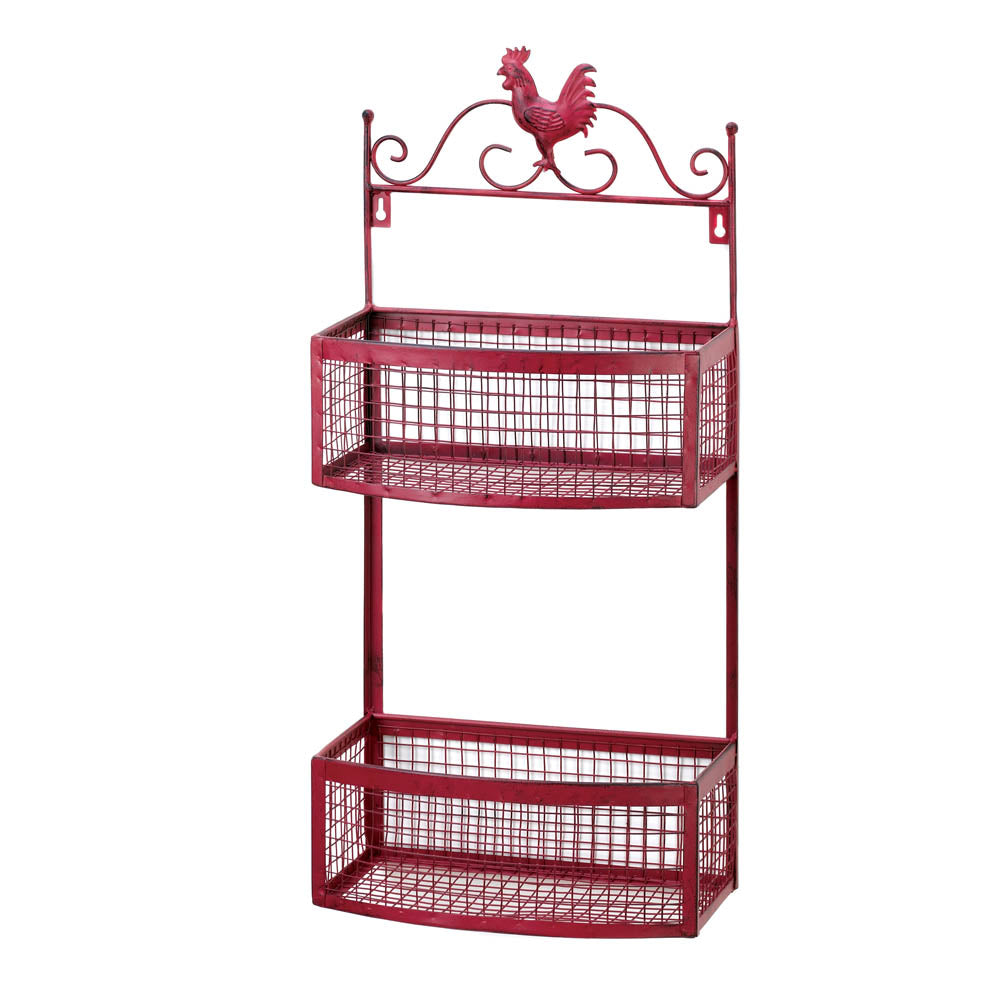 Red Rooster Double Wall Rack - Happy-Go-Cart