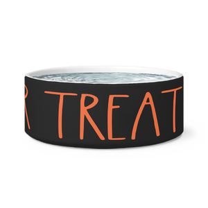 """TRICK OR TREAT"" Farmhouse Large Letter Halloween DOG BOWL"